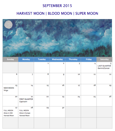 September 2015 Moon Calendar | The Walden Moon